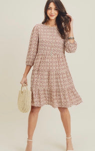 Bubble Sleeve Boho Dress