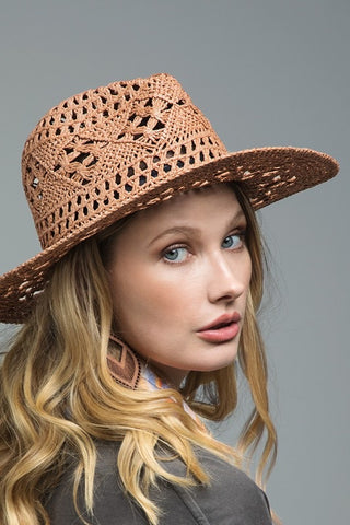 Panama Faux Leather Band Hat