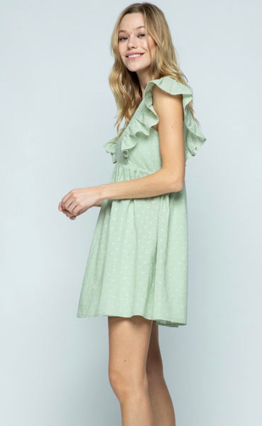 Ruffle Swiss Dot Dress