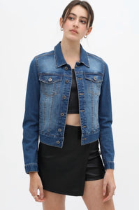 Faded Crop Denim Jacket