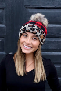 Leopard/Plaid Knit Hat