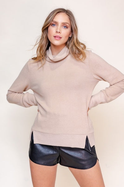 Side Slit Brushed Knit Turtleneck