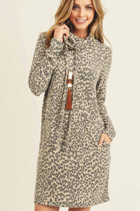 Brushed Knit Leopard Dress