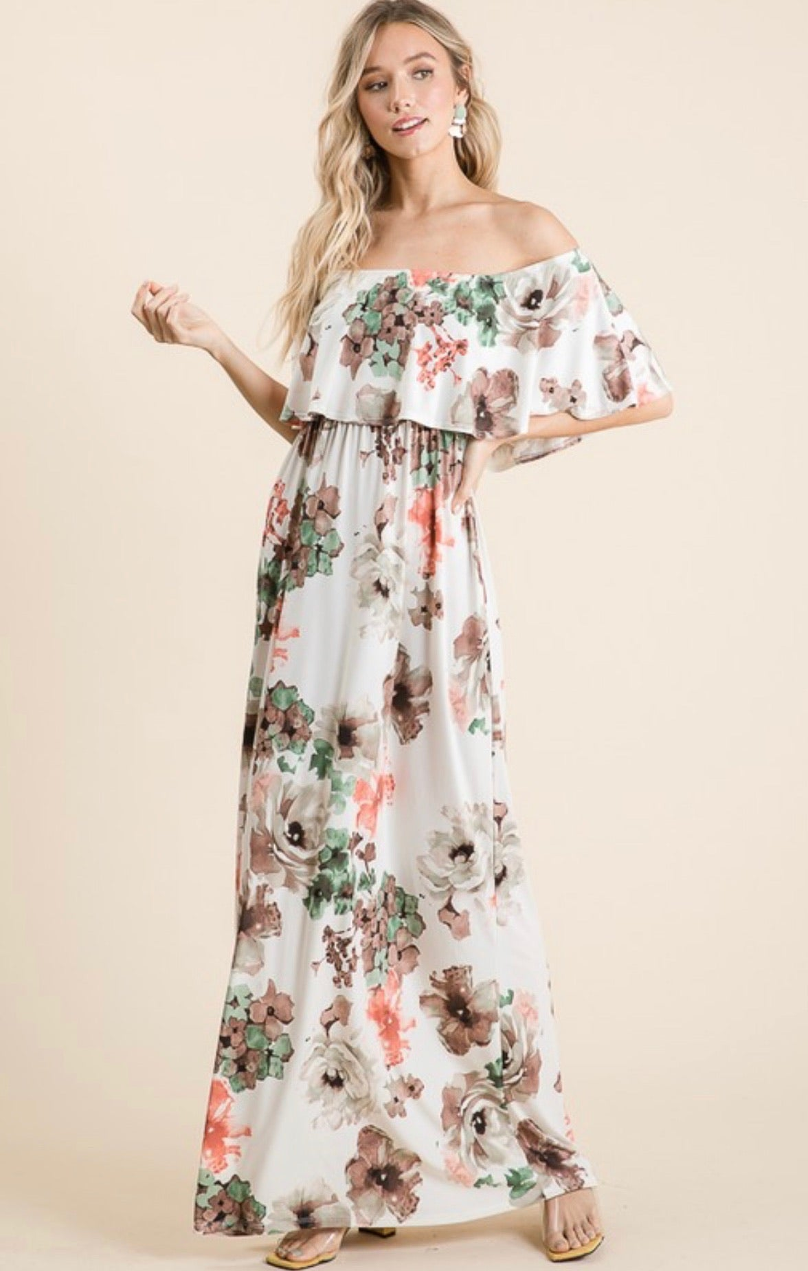 Off Shoulder Floral Maxi Dress