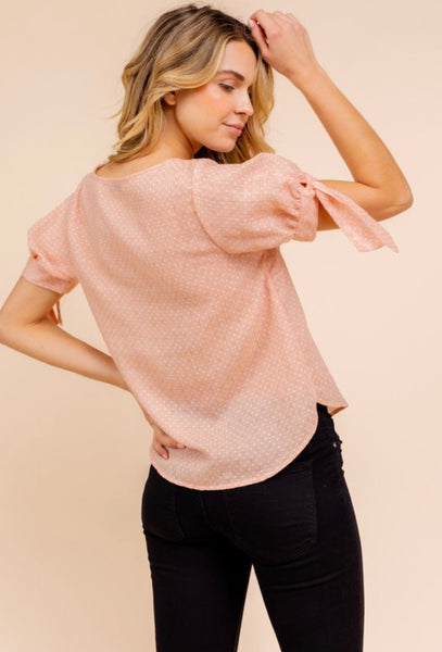 Pleated Tie Sleeve Top