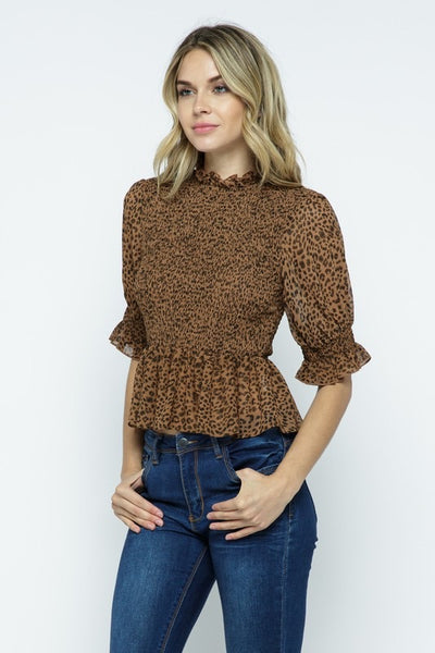 Leopard Smocked Top