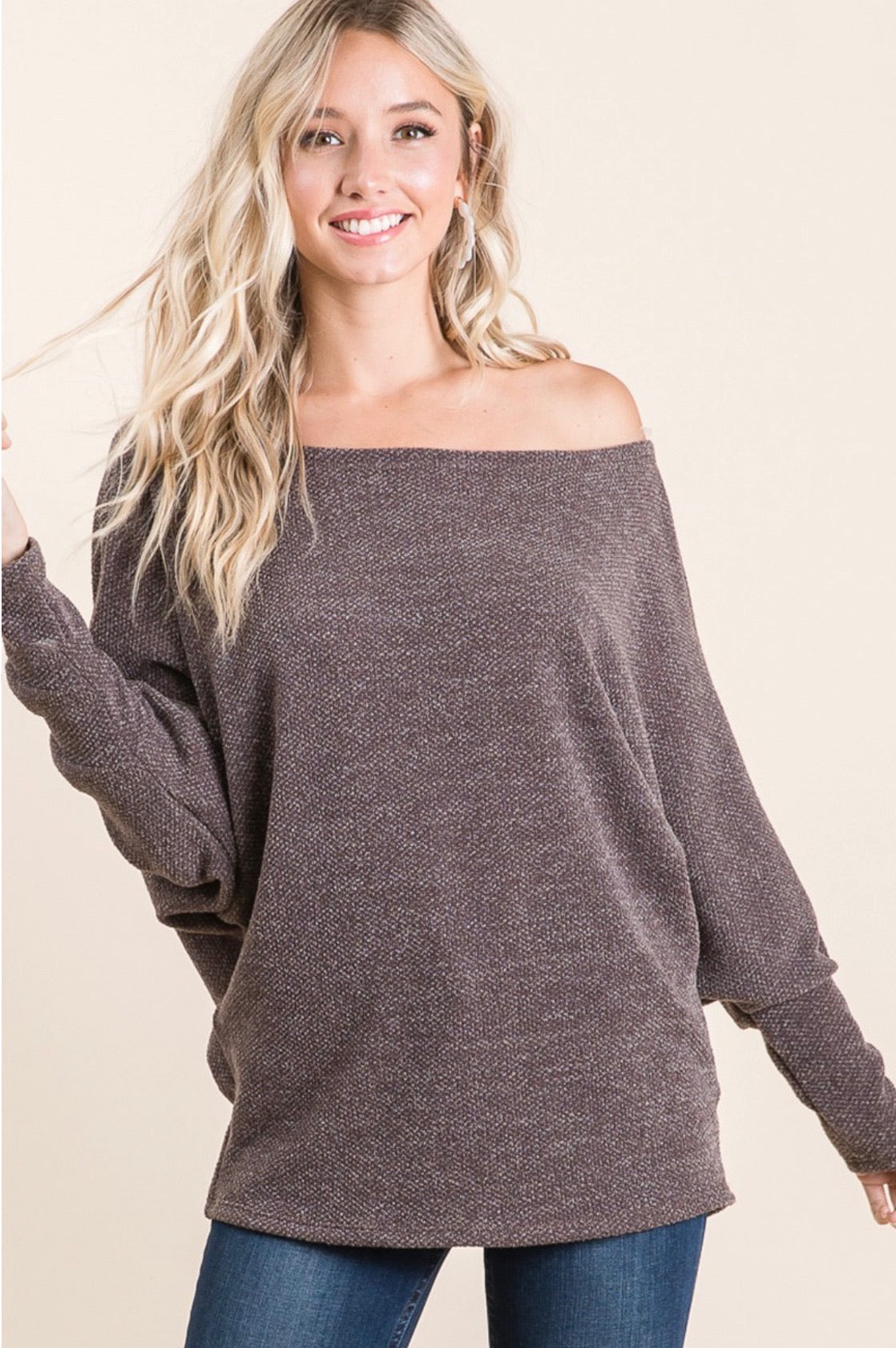Off Shoulder Dolman Sleeve Top