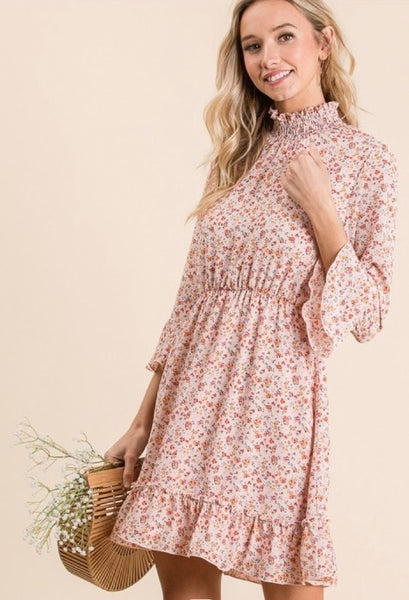 Floral Ruffle Trim Dress