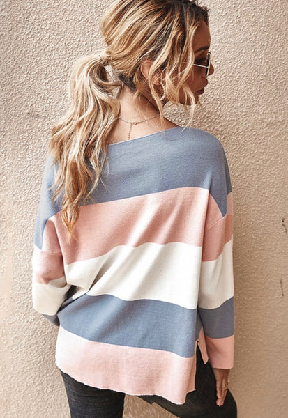 Striped One Shoulder Sweater