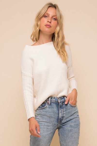 Off Shoulder Ribbed Sweater *FINAL SALE*