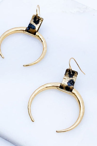 Leopard Print Hammered Horn Earrings
