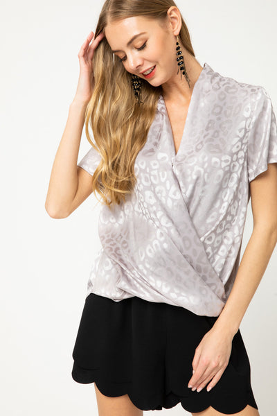 Animal Print Surplice Blouse