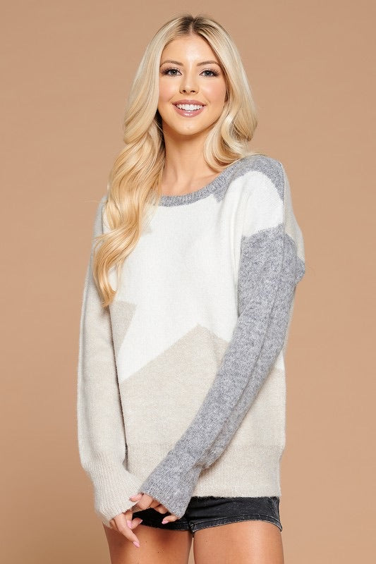 Star Contrast Sweater