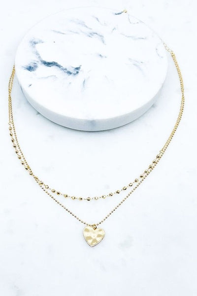 Layered Heart Pendant Necklace