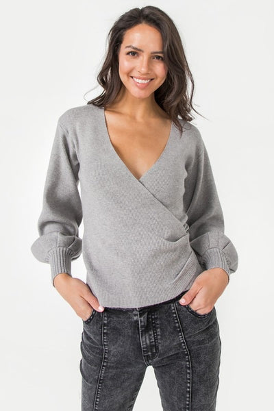 Ribbed Faux Wrap Sweater