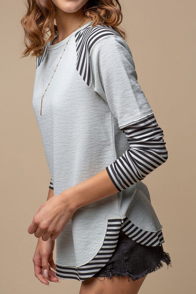 Striped Drop Sleeve Top