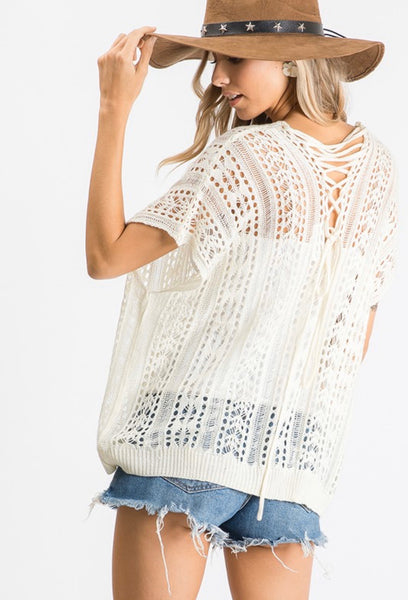 Open Knit Lace Up Top