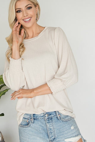3/4 Sleeve Ribbed Top