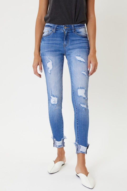 Mid Rise Distressed Skinny Denim