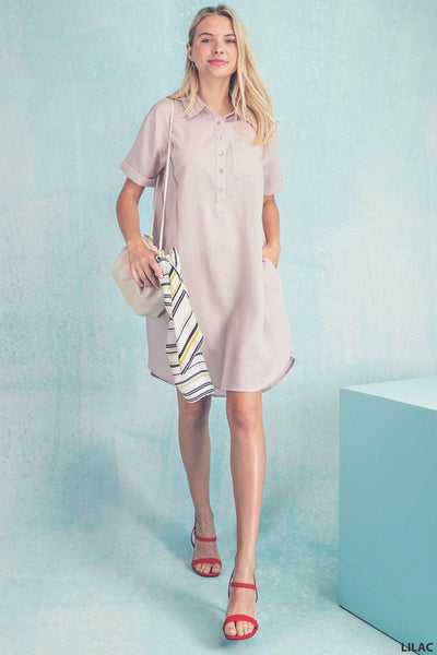 Rolled Sleeve Shift Dress