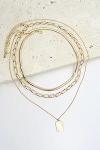 Triple Layer Rectangular Necklace