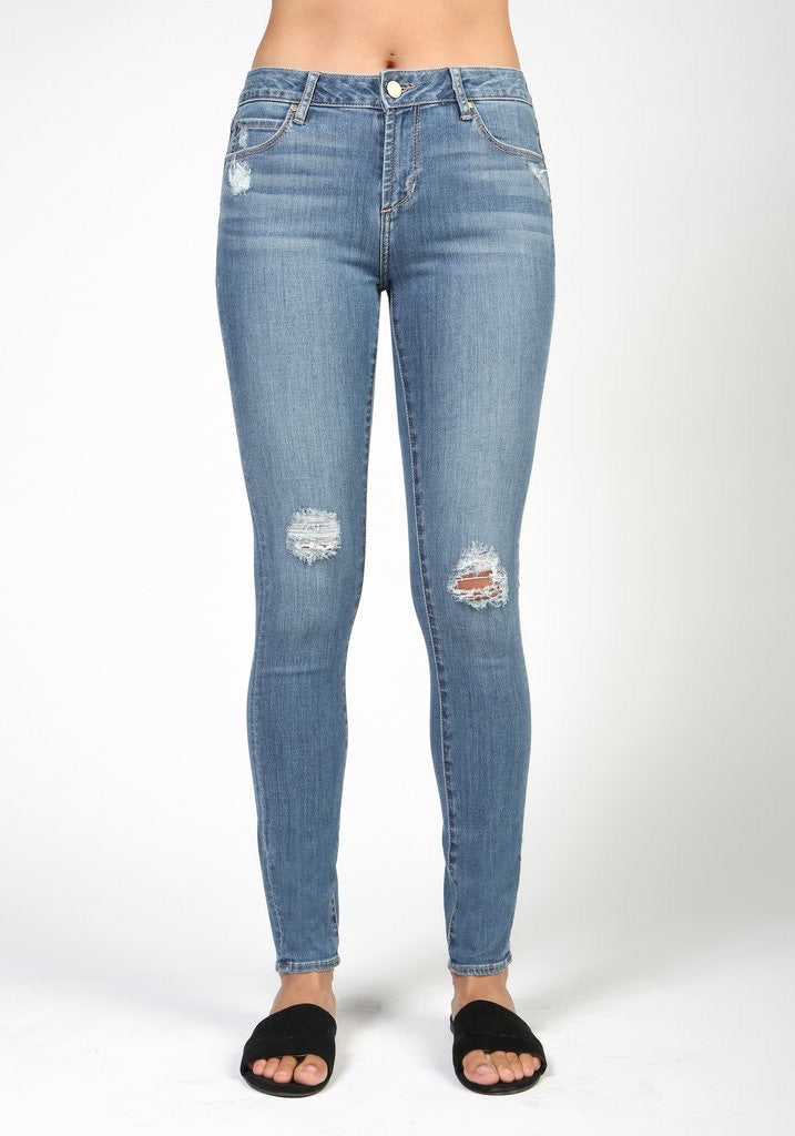 Light Wash Distressed Skinny Denim