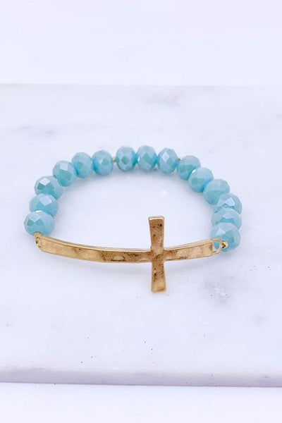 Glass Beaded Cross Stretch Bracelet