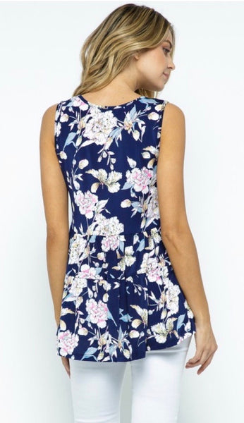 Floral Sleeveless Tiered Top