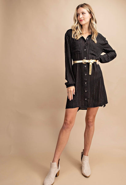 Glitter Pin Striped Button Down Shirt Dress