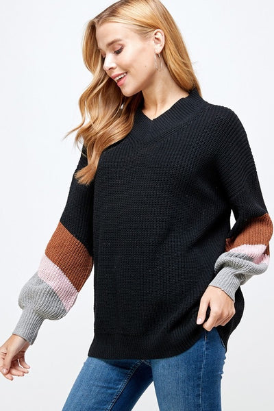 Striped Balloon Sleeve Sweater
