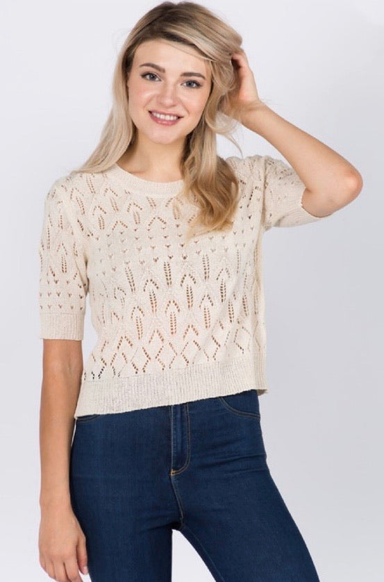 Loose Knit Crew Neck Sweater