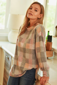 Plaid Brushed Knit Top