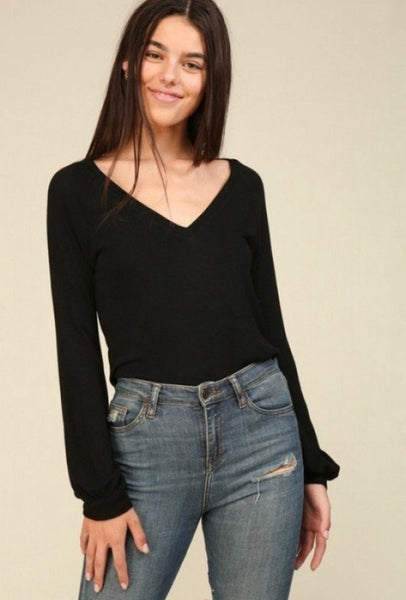 Cuffed Sleeve V-Neck Pullover