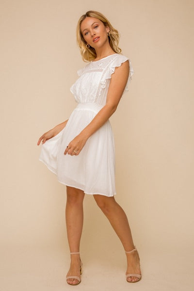 Flutter Sleeve Eyelet Dress