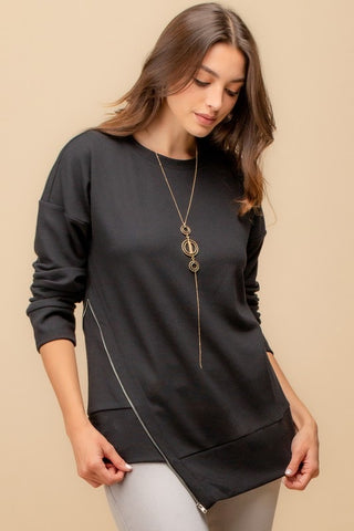 Asymmetrical Zipper Detail Sweatshirt