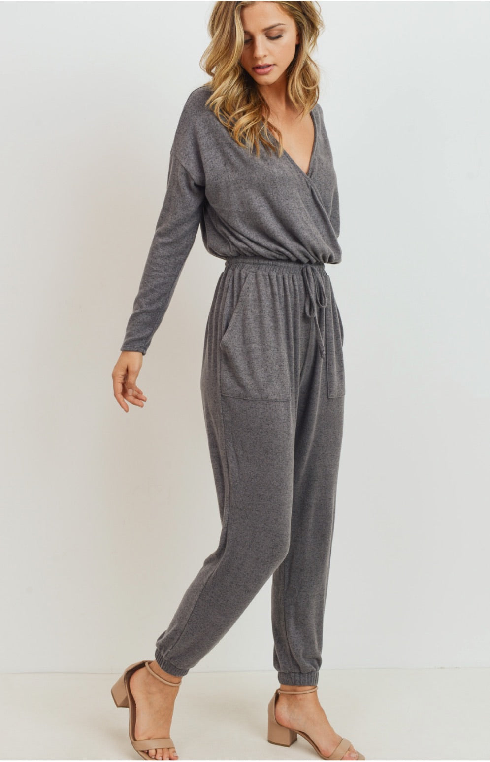 Brushed Knit Surplice Jumpsuit