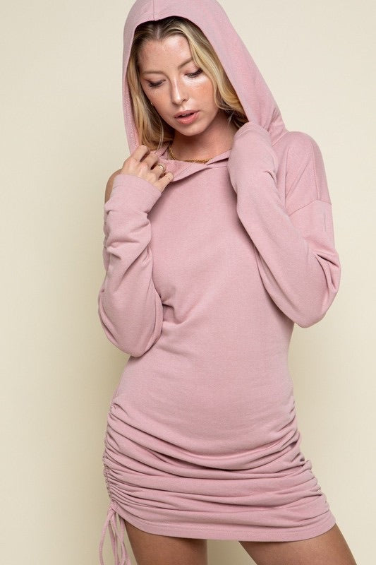 Side Hem Tie Hooded Dress *FINAL SALE*