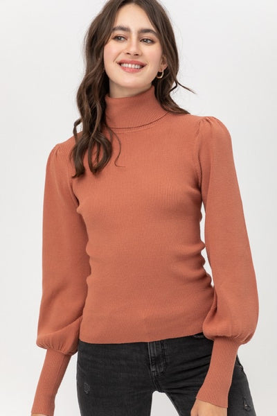 Rib Puff Sleeve Turtleneck *FINAL SALE*