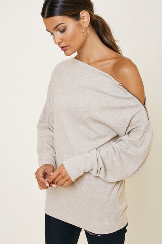 Ribbed Zip Shoulder Top
