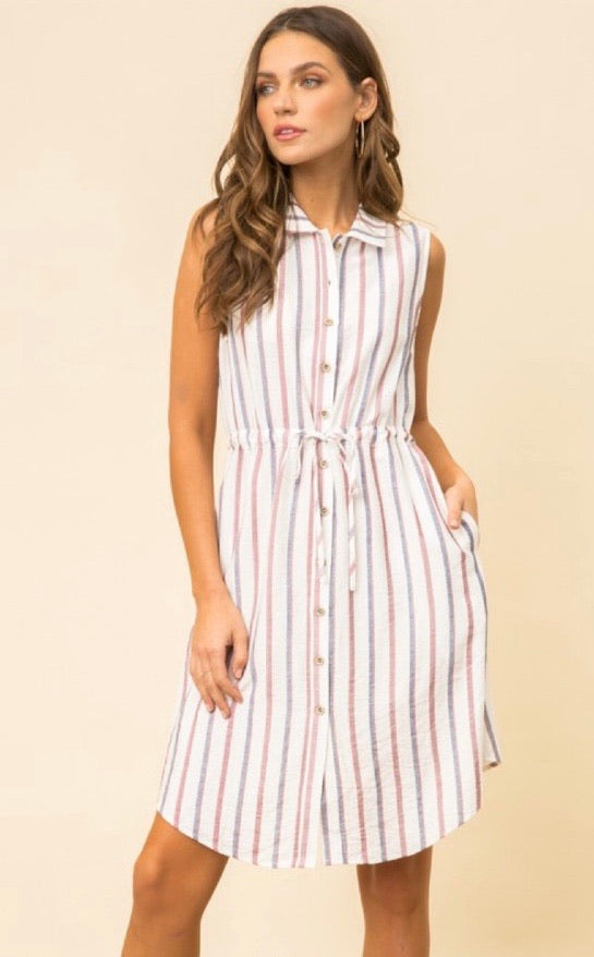 Button Down Striped Dress