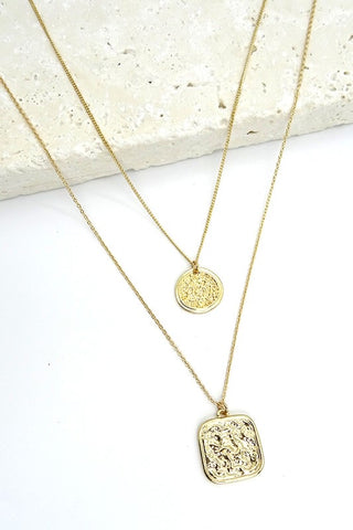 Square & Circle Layered Necklace