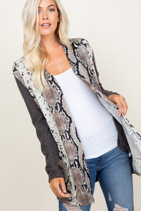 Elbow Patch Snakeskin Cardigan
