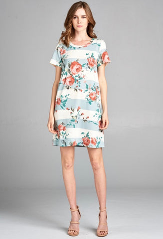 Floral Striped A-Line Dress