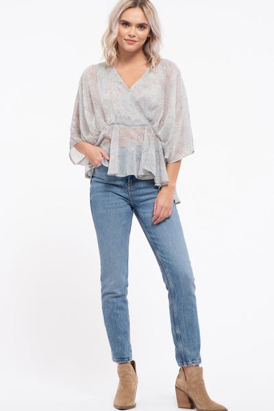 V-Neck Kimono Sleeve Empire Waist Top