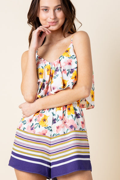 Floral Stripe Mix Romper