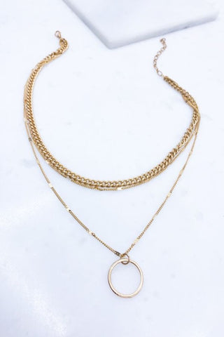 Multi Chain Circle Pendant Necklace