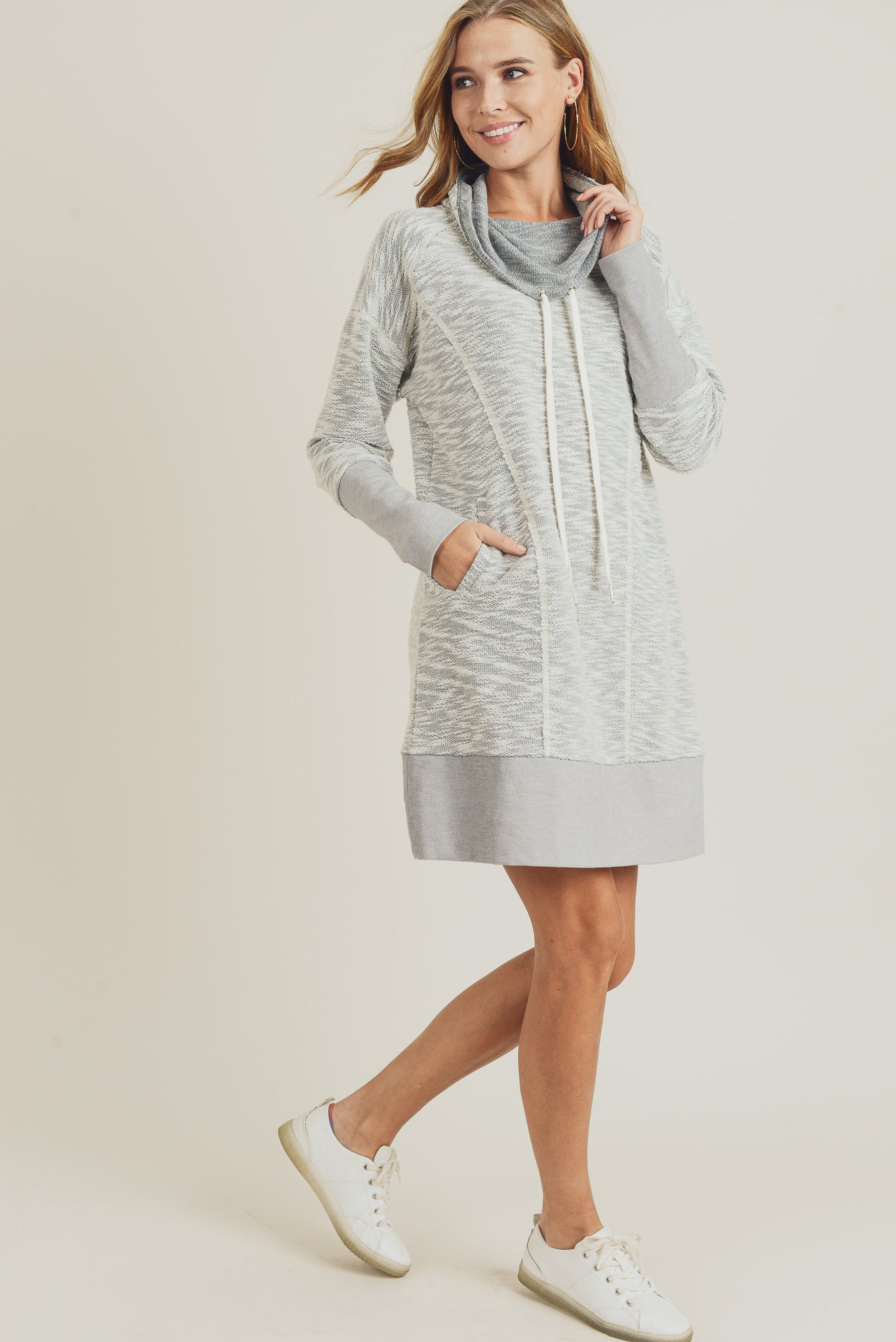 Cowl Neck Pullover Dress