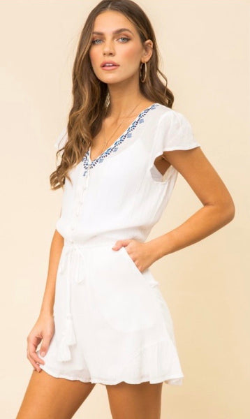 Embroidered Tassel Romper *FINAL SALE*
