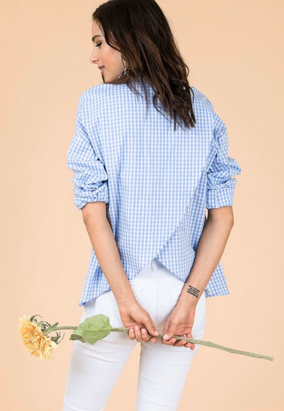 Gingham Split Back Blouse *FINAL SALE*