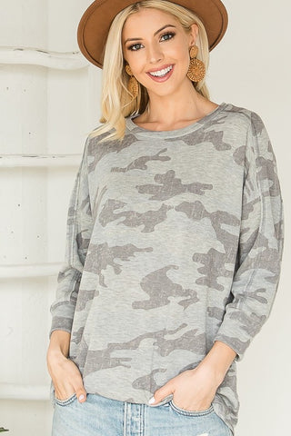 3/4 Sleeve Brushed Knit Camo Top